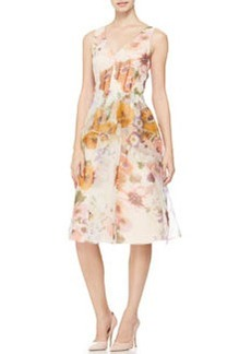 Lela Rose V-Neck Floral-Print Dress