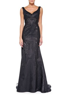 Lela Rose V-Neck Gown with Sheer Insets, Black