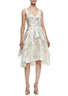 Lela Rose V-Neck Tiered Metallic Floral Dress