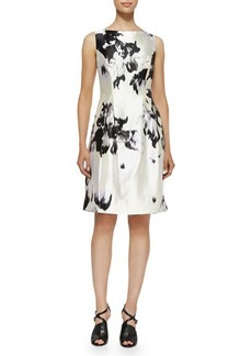 Lela Rose Watercolor Silk Sheath Dress  Watercolor Silk Sheath Dress