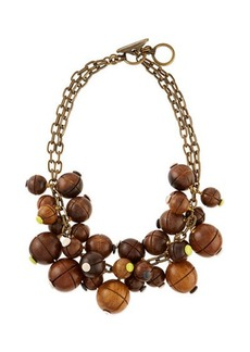 Lela Rose Wooden Bauble Bib Necklace