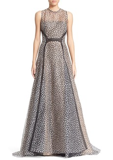 Lela RoseFloral Print Silk Gown