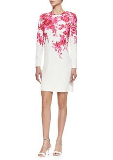 Long-Sleeve Floral-Print Shift Dress, Peony   Long-Sleeve Floral-Print Shift Dress, Peony