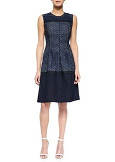 Mesh Contrast-Lined Dress, Navy   Mesh Contrast-Lined Dress, Navy