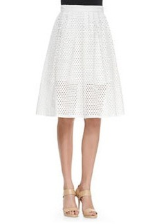 Mesh Pleated Full Skirt, White   Mesh Pleated Full Skirt, White