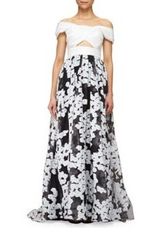 Off-The-Shoulder Floral-Embroidered Cutout Gown, Black/Ivory   Off-The-Shoulder Floral-Embroidered Cutout Gown, Black/Ivory
