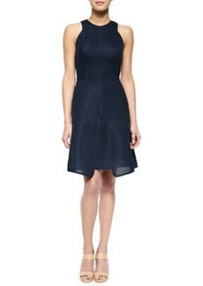 Seamed Pique Tiered Dress, Navy   Seamed Pique Tiered Dress, Navy