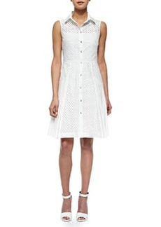 Side-Pleated Mesh Shirtdress, White   Side-Pleated Mesh Shirtdress, White