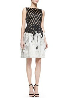 Sleeveless Dress with Fringed Skirt   Sleeveless Dress with Fringed Skirt