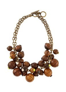 Wooden Bauble Bib Necklace   Wooden Bauble Bib Necklace