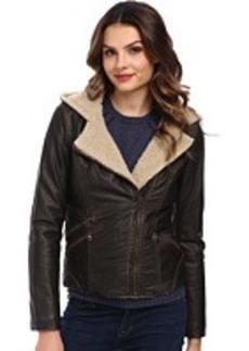 Levi's® Faux Leather Sherpa Lined Assymetrical Moto Jacket w/ Hood