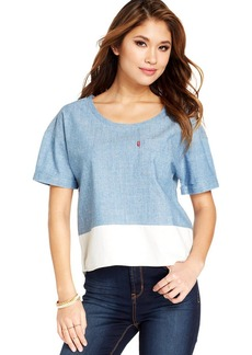 Levi's® Juniors' Chambray Colorblock Top
