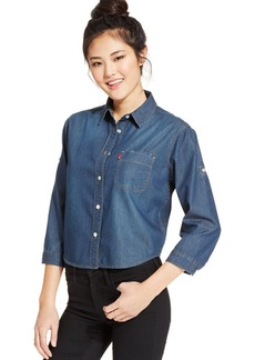 Levi's® Juniors' Cropped Button-Down Top