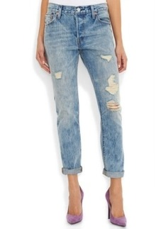 Levi's 501 Ct Customized and Tapered Boyfriend Jean, Torn Indigo