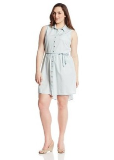Levi's Women's Plus-Size Sleeveless Button Front Belted Dress