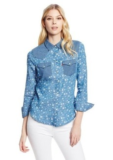 Levi's Women's Printed Denim Color Blocked Annie Shirt