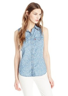 Levi's Women's Sleeveless Western Printed Chambray Shirt