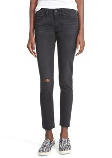 Levi's® '711™' Raw Edge Skinny Jeans (Black Tide Destructed)