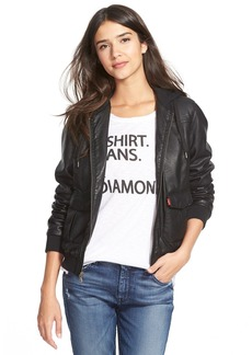 Levi's® Faux Leather Bomber Jacket with Jersey Knit Hood