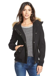 Levi's® Hooded Bomber Jacket with Faux Fur & Faux Shearling Trim