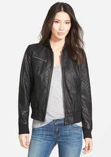 Levi's® Quilted Faux Leather Bomber Jacket with Knit Hood