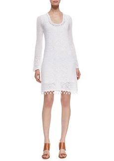 Lilly Pulitzer Athena Long-Sleeve Cotton Crochet Sweaterdress