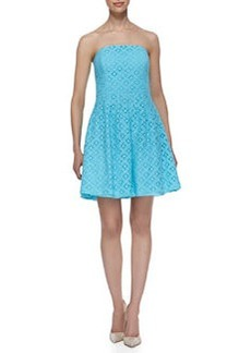 Lilly Pulitzer Caitlin Strapless XOXO Lace Dress, Shorely Blue