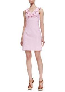 Lilly Pulitzer Phoebe Ruffle-Neck Seersucker Sheath Dress