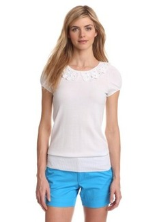 Lilly Pulitzer Women's Nia Short-Sleeve Knit Top with Peter Pan Collar