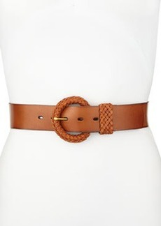 Linea Pelle Braided Buckle Leather Belt, Light Brown