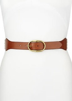 Linea Pelle Leather & Cotton Stretch Belt, Brown