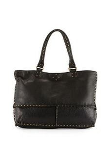 Linea Pelle Nico Studded Leather East-West Tote Bag, Black