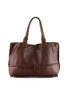 Linea Pelle Nico Studded Leather East-West Tote Bag, Russet