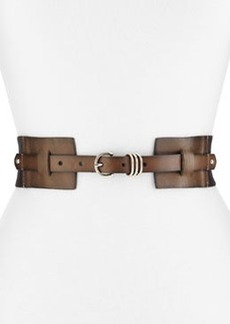 Linea Pelle Stretch Twill/Leather Belt, Slate/Black