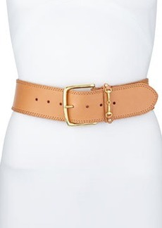 Linea Pelle Wide Mini Harness Keeper Belt, Natural/Golden