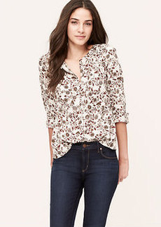 Autumn Floral Collarless Utility Blouse