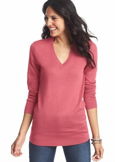 Deep V-Neck Tunic Sweater