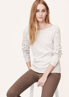 Embroidered Eyelet Sleeve Sweatshirt