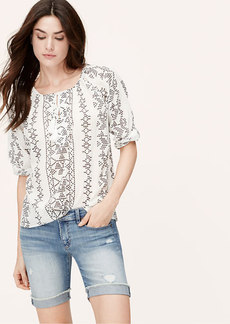 Embroidery Print Tasseled Blouse