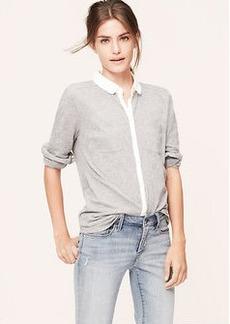 Heathered Knit Button Down Shirt