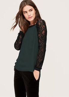 Lace Sleeve Woven Sweatshirt