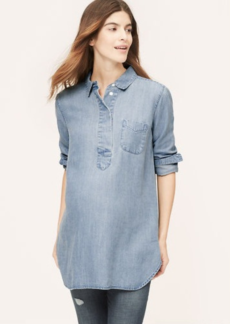 Maternity Lapeled Light Chambray Softened Shirt Shop It