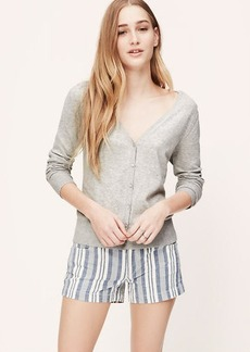 Melange V-Neck Pima Cotton Cardigan