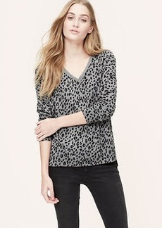 Petite Animal Spot Mixed Media Sweater