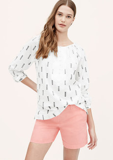 Petite Arrow Embroidered Henley Blouse