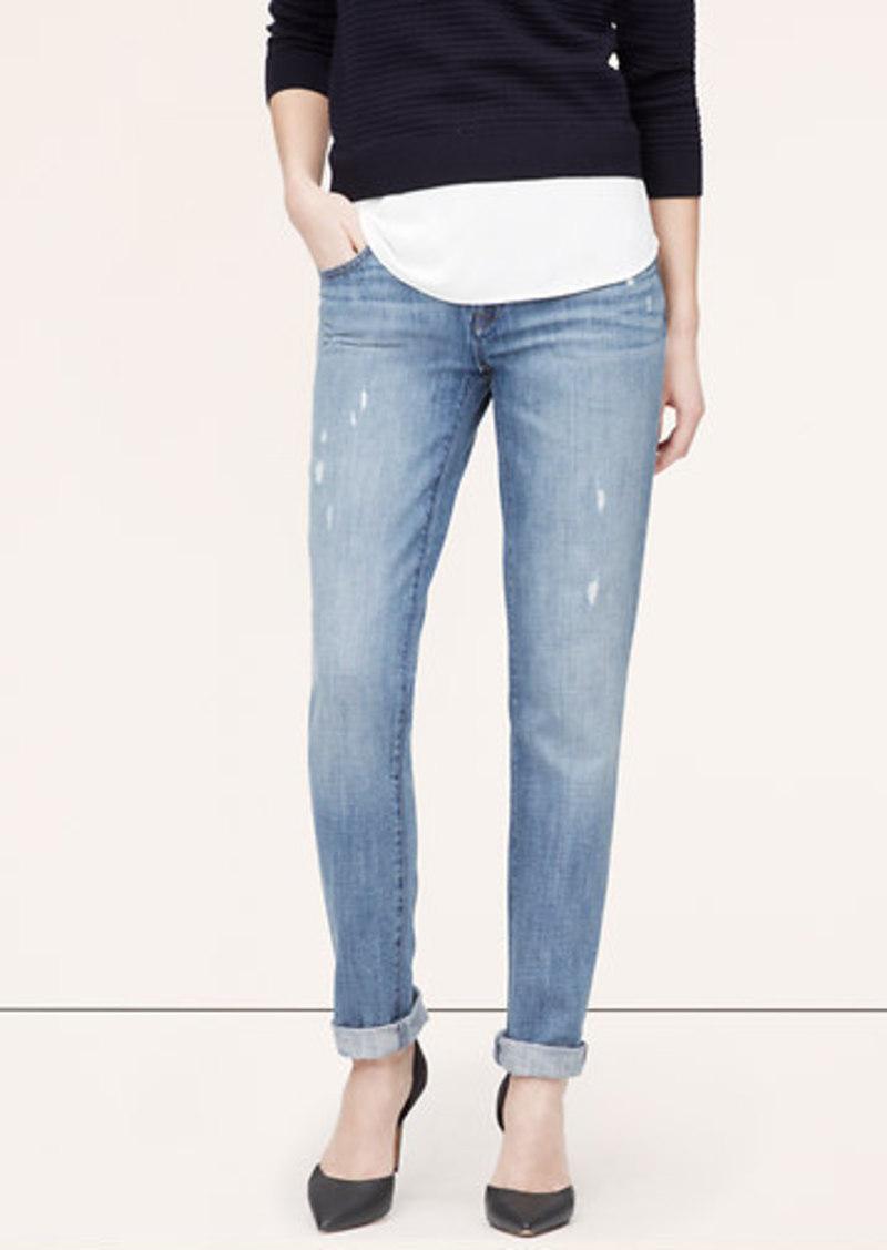 loft petite boyfriend jeans in surface blue wash denim shop it to me. Black Bedroom Furniture Sets. Home Design Ideas