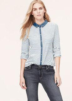 Petite Chambray Knit Button Down Shirt