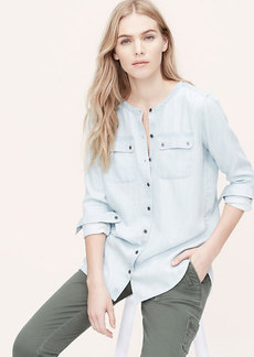 Petite Collarless Chambray Softened Shirt