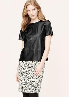 Petite Faux Leather Tweed Top