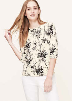 Petite Floral Print Cotton Sweater
